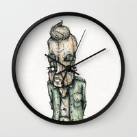 the dude Wall Clocks featuring Dude by Jans Wurst