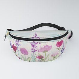 Watercolor Wildflower Landscape Fanny Pack