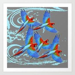 SWIRLING BLUE-GREY FLYING MACAWS ART Art Print
