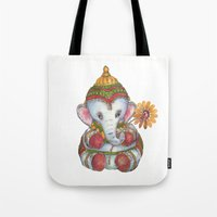 ganesh Tote Bags featuring Ganesh by coconuttowers