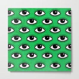 Eyes pattern on green background Metal Print