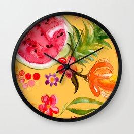 Tropical Fruit Festival in Yellow | Frutas Tropicales en Amarillo Wall Clock