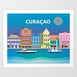 Curacao - Skyline Illustration by Loose Petals Art Print