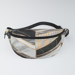 Abstract Chevron Pattern - Black and White Marble Fanny Pack