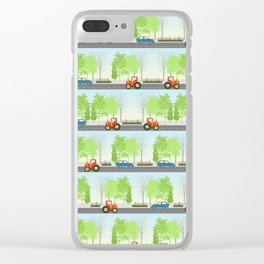 Cars and trees pattern Clear iPhone Case