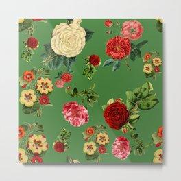 Green vintage roses Metal Print