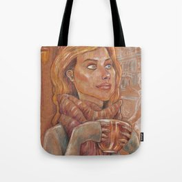 Winter meditaion in a tea house Tote Bag