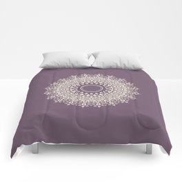 Mandala in Mulberry and White Comforters