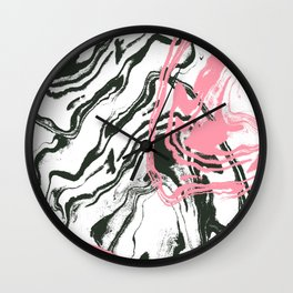 Hoshiko - spilled ink abstract watercolor painting rose black and white pink marble Wall Clock