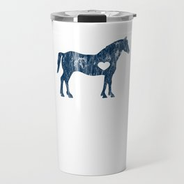 I Love Horses Black Rider Cowboy Cowgirl Jockey Navy Travel Mug
