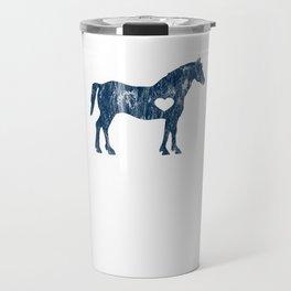I Love Horses Black Rider Cowboy Cowgirl Jockey Navy Travel Mug