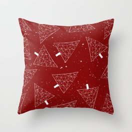Christmas Trees Red Throw Pillow