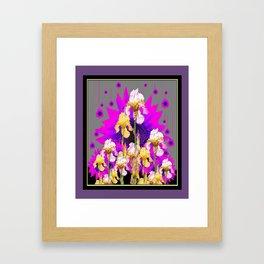 Yellow Iris Garden Fantasy Puce Purple Grey Pattern Art Framed Art Print