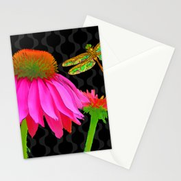 Flower Pop, floral Pop Art Echinacea, dragonfly Stationery Cards