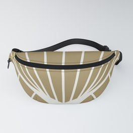 Diamond Series Round Sun Burst White on Gold Fanny Pack