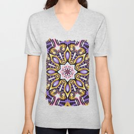 Kaleidoscope in purple, pink, gold and blue Unisex V-Neck