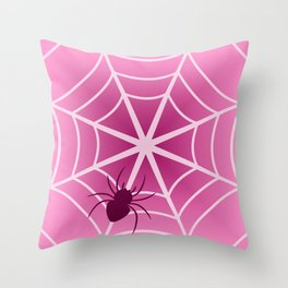 Spider web in pink Throw Pillow