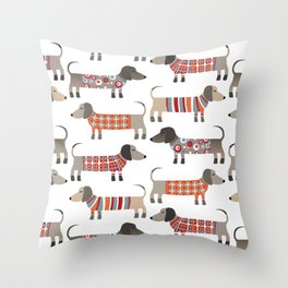 Sausage Dogs in Sweaters Throw Pillow