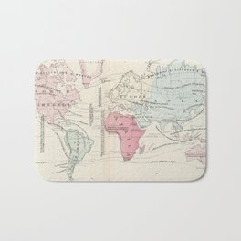 Vintage Agricultural Map of The World (1865) Bath Mat
