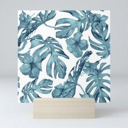 Teal Blue Tropical Palm Leaves Flowers Mini Art Print