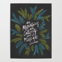 Mountains Calling – Charcoal Poster