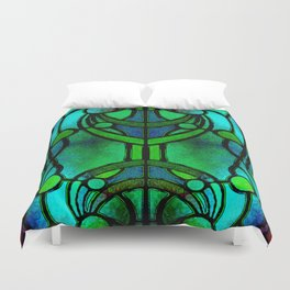 Green and Aqua Art Nouveau Stained Glass Art Duvet Cover