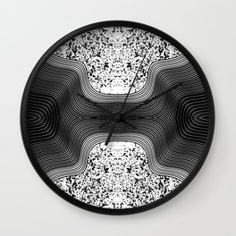 Modern Black and White Speckles and Swirls Wall Clock