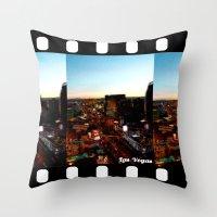las vegas Throw Pillows featuring Las Vegas by Natasha Jones