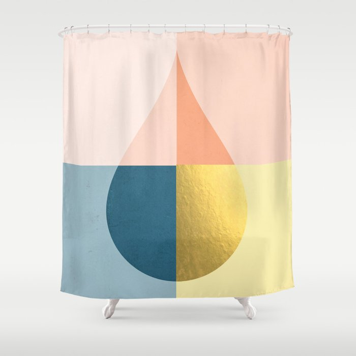 Geometric Raindrop Shower Curtain By Galeswitzer