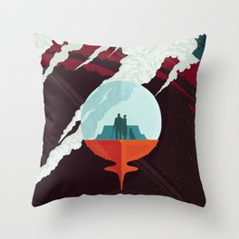NASA Retro Space Travel Poster #3 - Enceladus Throw Pillow