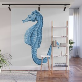 Seahorse nautical blue watercolor Wall Mural