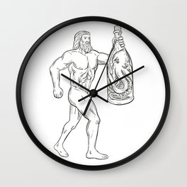 Hercules With Bottled Up Angry Octopus Drawing Black and White Wall Clock