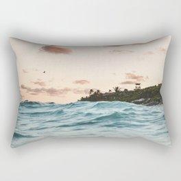 Waves at the sunset Rectangular Pillow