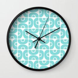 Groovy Mid Century Modern Pattern 731 Turquoise Wall Clock