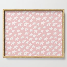 Stars on pink background Serving Tray