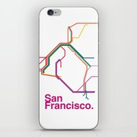 san francisco map iPhone & iPod Skins featuring San Francisco Transit Map by Ariel Wilson