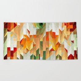 Geometric Tiled Orange Green Abstract Design Beach Towel
