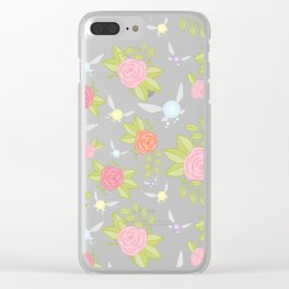 Garden of Fairies Pattern in Grey Clear iPhone Case