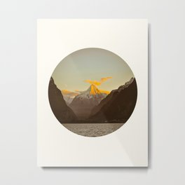 MidCentury Modern Circle Photo Parallax Mountains Distant Snow Capped Mountain With Yellow Tip Metal Print