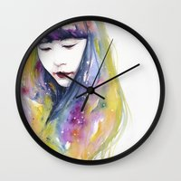 wallet Wall Clocks featuring lime nights by agnes-cecile