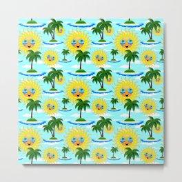 Happy Summer Sun and Tropical Island Metal Print
