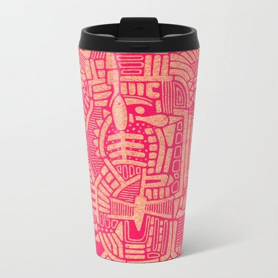 - the pink stencil - Metal Travel Mug