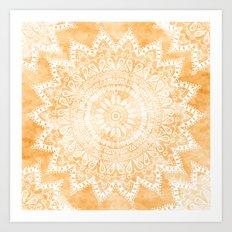 TANGERINE BOHO FLOWER MANDALA Art Print