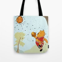 pooh Tote Bags featuring Pooh Rose by Jen Hynds