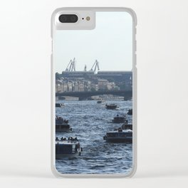 Huge water traffic on Neva River. Many passenger boats. Clear iPhone Case