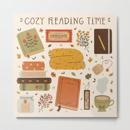 Cozy Reading Time Metal Print
