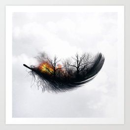Fire Feather • Black Feather (horizontal) Art Print