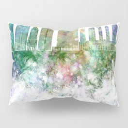 Sao Paulo V2 skyline in watercolor background Pillow Sham