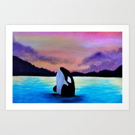 Orca Sunset Art Print