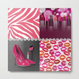 Pink & Purple Fashion Collage Metal Print